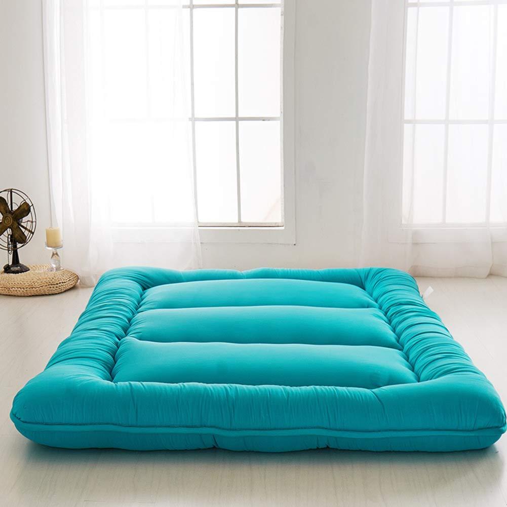 厚くマットレス 敷きパッド,ソフト畳tatami 通気性パッドを睡眠,日本語 フロアマット敷布団 ベットマット,折りたたみ 高反発 ベットマット-blue Queen B07SVGGH7L Blue Queen