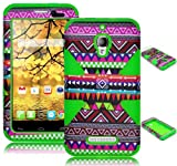 Bastex Heavy Duty Hybrid Dynamic Case for Alcatel One Touch Fierce 7024T - Green Silicone / Chevron Tribal Aztec Hard Shell