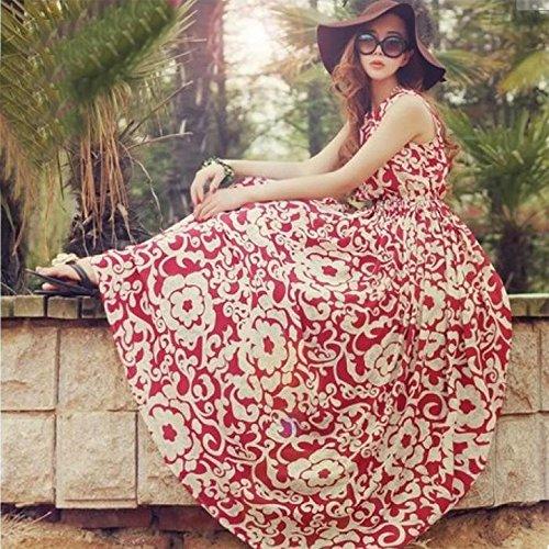 OURS Women's Summer Boho Long Maxi Evening Party Chiffon Dress Beach Sundress (Red)
