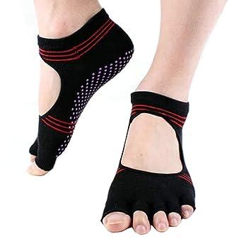 Womens media Yoga antideslizante calcetines sin dedos algodón dedo y dimetilamina Pilates calcetines