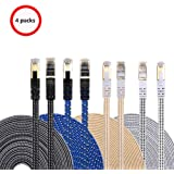 Ethernet Cable Cat 7 DanYee Flat High Speed Nylon LAN Network Patch Cable Gold Plated Plug STP Wires CAT 7 RJ45 Ethernet Cable 0.5M 1M 2M 3M 5M 8M 10M 15M 20M 30M (4color-0.5M)