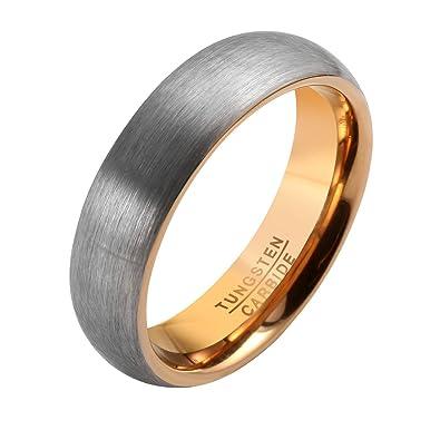 Zysta Mens Womens 6mm Matte Finish Brushed Silver Rose Gold