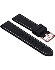StrapsCo Rubber Diver Mens Watch Band - Quick Release Strap - Choice of Buckle - 18mm 20mm 22mm 24mm