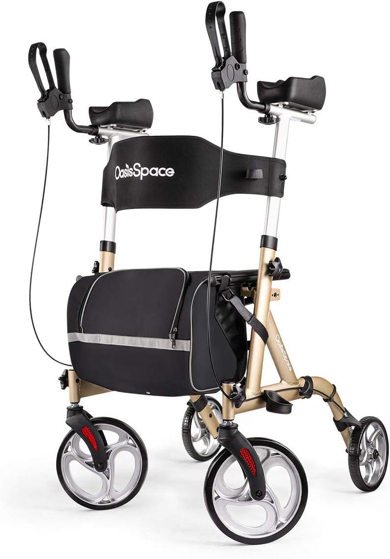 OasisSpace Lightweight Stand-Up Rollator - Rollator Walker with Armrest, Walker with Back Support for Elderly