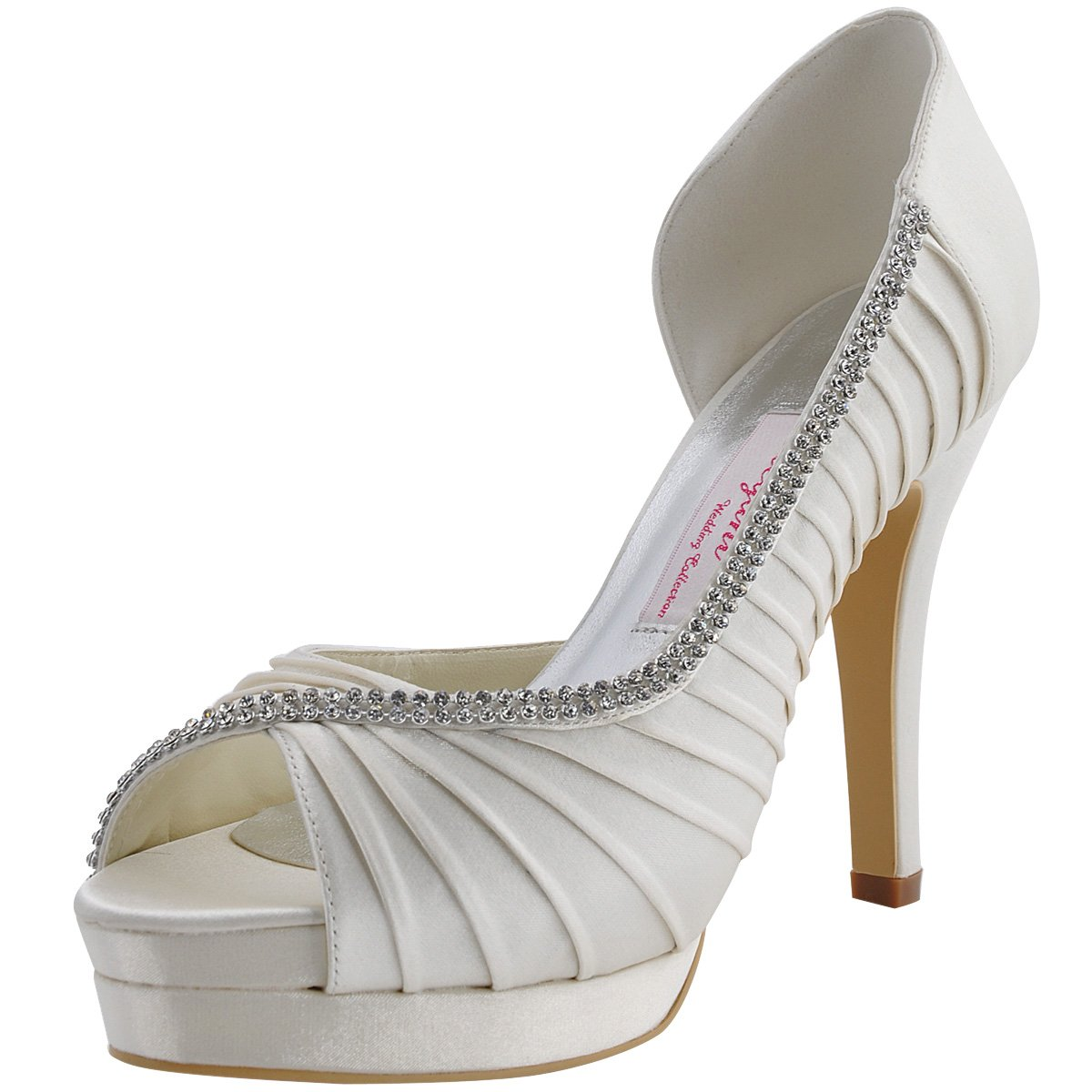 ElegantPark EP11064 Women High Heel Pumps Platform Peep Toe D'orsay Pleated Satin Bridal Wedding Shoes Ivory US 10