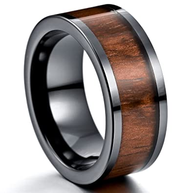 Munkimix 9mm Keramik Porzellan Holz Band Ring Braun Bequeme Passform