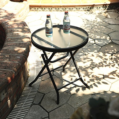 Captiva Designs 18'' Patio Small Side Table-Little Folding Glass Table, Clear by Captiva Designs (Image #2)'