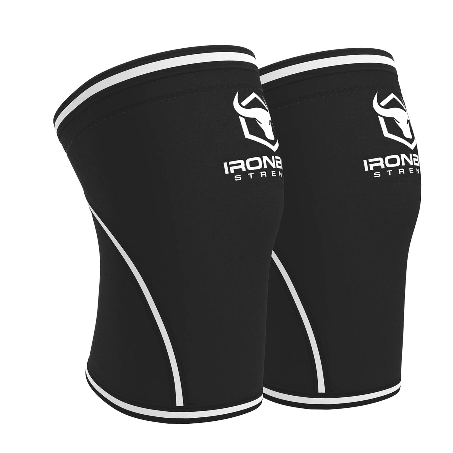 Knee Sleeves 7mm (1 Pair) - High Performance Knee Sleeve Support for Weight Lifting, Cross Training & Powerlifting - Best Knee Wraps & Straps Compression - for Men and Women (Black/White, X-Large) by Iron Bull Strength