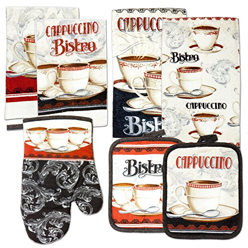 Kitchen Towel Linen Set of 7 Pieces Coffee Bistro Cappuccino, Italian Cafe Themed Design | 2 Kitchen Towels, 2 Potholders, 2 Scrubber Dishcloth, and 1 Oven Mitt | Home Collection Gift Set (Bistro)
