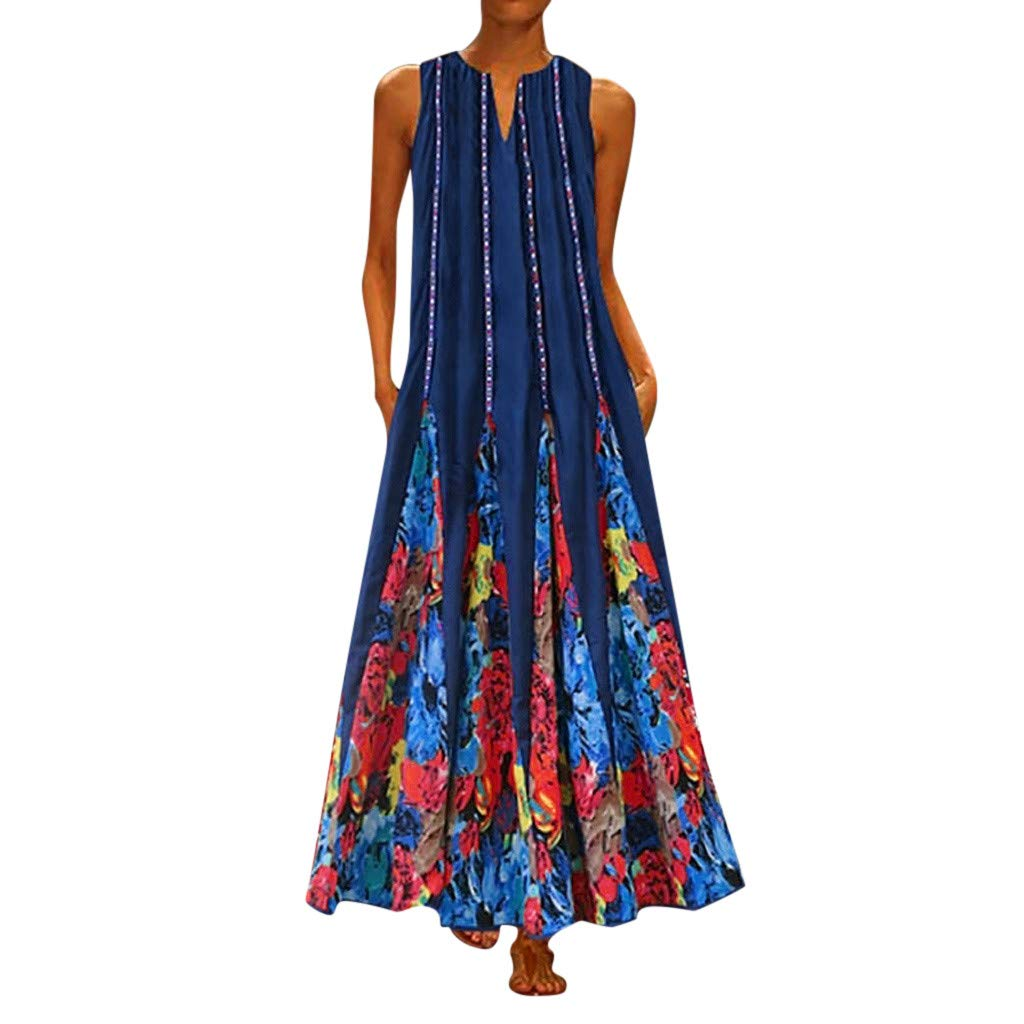 【MOHOLL】 Women's Floral Print Flowy Party Maxi Dress Casual Sleeveless Vintage Bohemian V Neck Maxi Dress Blue