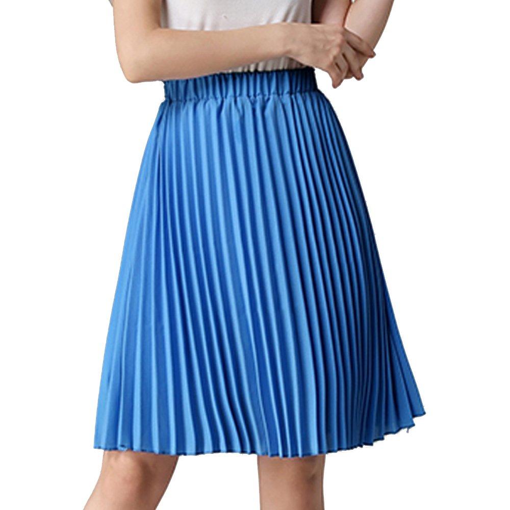 4d23a9e2f6 TEERFU Women's Pleated Casual Plain High Waist Chiffon Midi Skirt:  Amazon.co.uk: Clothing