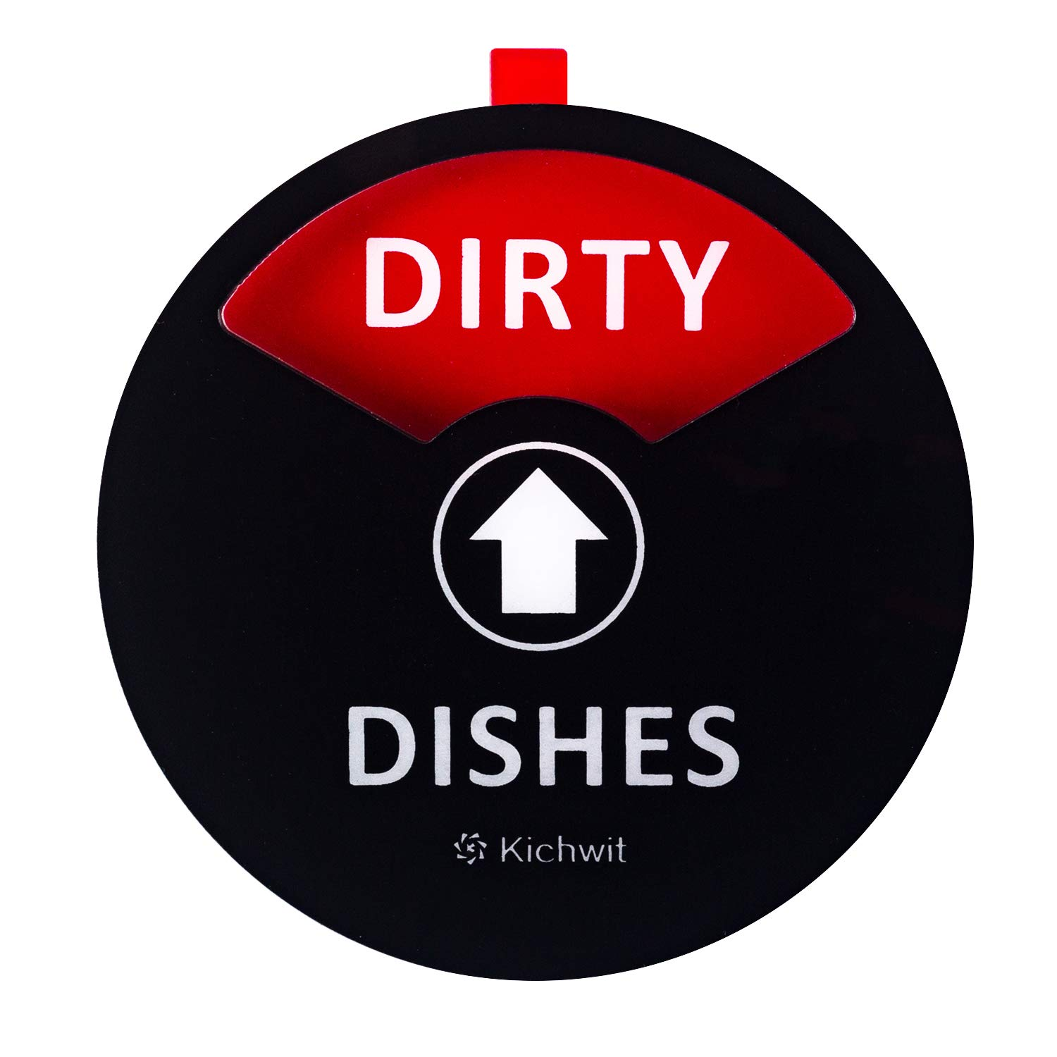 "Kichwit Clean Dirty Dishwasher Magnet with the 3rd Option ""Empty"", Non-Scratch Strong Magnet Backing, Residue Free Adhesive Included, 3.5"" Diameter, Black"