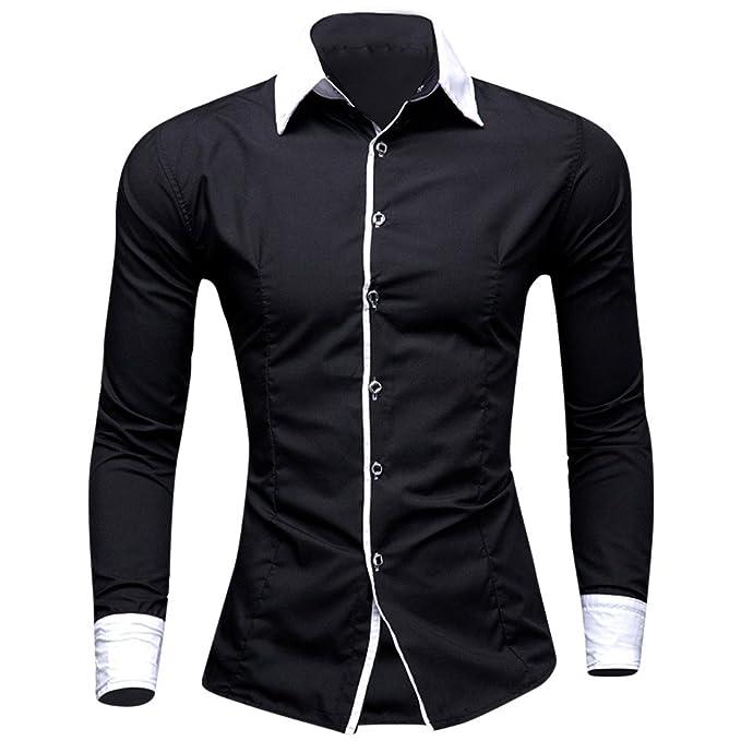 Camisas de Hombre Manga Larga Blancas Slimfit Cuadros Estampadas Casual  para Hombre Color Puro Negocio de la Camisa Ajustado Camisa Impreso Blusa   ... edc6efc20af