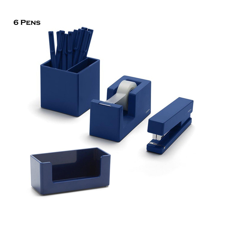 Poppin 10 Piece Set Fresh Start Desk Collection (Navy)
