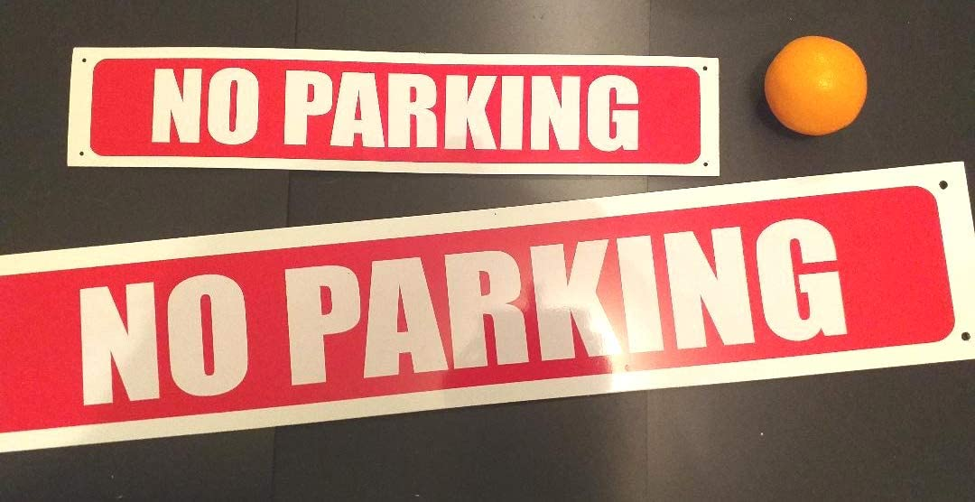 13cmx80cm manchesterbanners no parking metal long sign pre-drilled holes