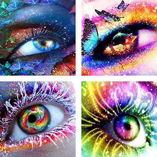 4 Pack Diamond Painting Kits for Adults Kids Set Eyes Full Drill for Home Wall Decor