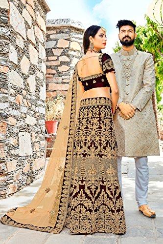 Da Facioun Indian Women Designer Partywear Ethnic Traditional Lehenga Choli. Da Facioun Femmes Indiennes Concepteur Choli Lehenga Traditionnels Ethniques Partywear. Maroon 4 Marron 4
