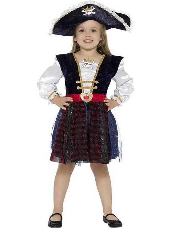 Halloweenia Disfraz de capitán Pirata para niña, Disfraz de Lujo ...