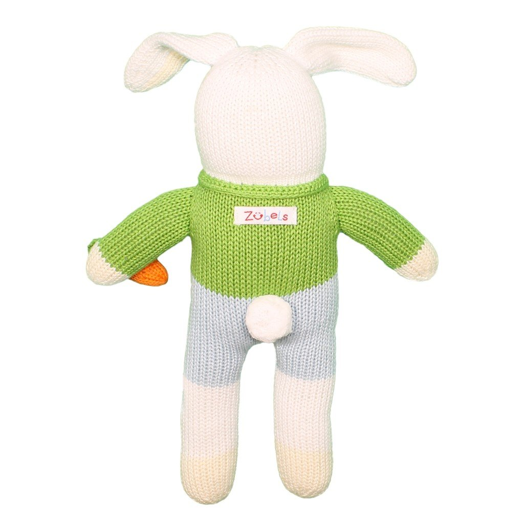 All-Natural Fibers Zubels Baby Boys/' Hand-Knit London Colin The Bunny Toy 7-Inch Rattle Eco-Friendly