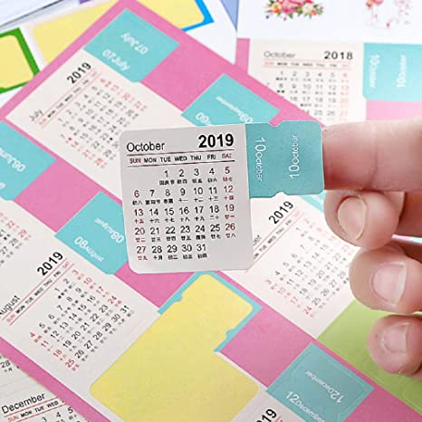 8 Sets Journal Calendar Stickers 2019 for Journal and Agenda, Self Adhesive Index Tabs Monthly Index Dividers Easy to Peel and Stick, 15 Month