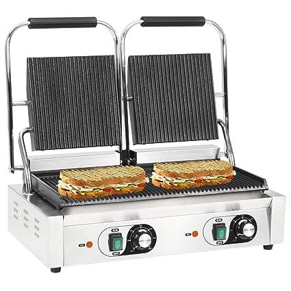 Festnight- Grill Parrilla Estriada Doble para Asar paninis ...