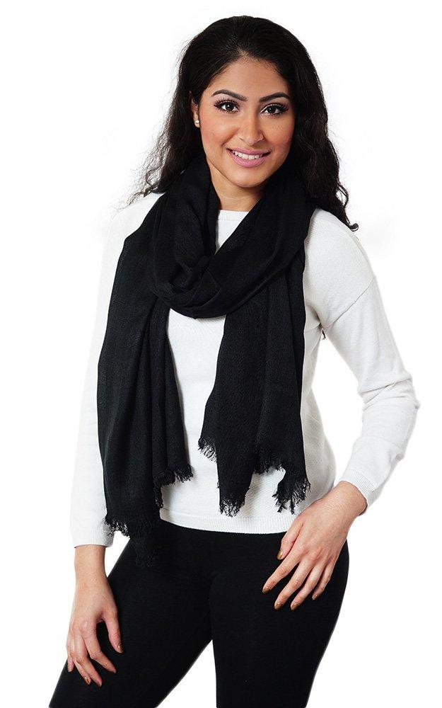 Batoolz Soft Viscose Cotton Solid Color Women Long Wrap Cover up Fashion Scarf Hijab - Black