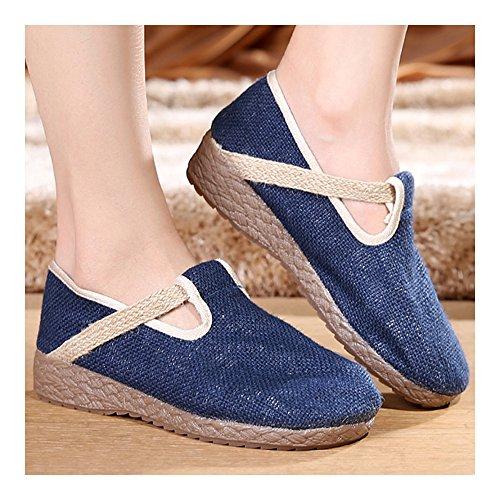 de Lino y Bordados Zapatos Azul Puro Elegantes Bonitos xw1qIcUOx