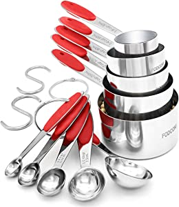 Cooking Measuring Cups and Spoons Set of 12, FODCOKI Real 18/8 Stainless Steel Measuring Spoons and Cups with Silicone Handle, for Dry & Liquid Ingredients, Red