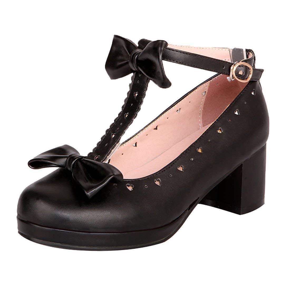 YE Noir Escarpin Rockabilly Femme Talon YE Bloc Lanière Femme en T Boucle Chaussure Noeud Pallion Noir 2b72b76 - deadsea.space