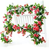 Li Hua Cat Rose Garland Artificial Rose Vine with Green Leaves 63 Inch Pack of 3 Flower Garland For Home Wedding Decoration (red)