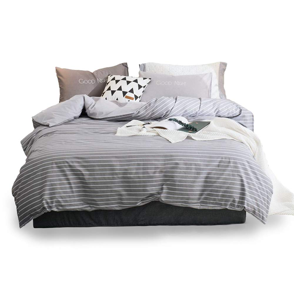 Gray White Stripe, twin Breathable Material Bedspreads Girls Boys Thin Soft Toys Studio 3 Piece Striped Duvet Cover Set 100/% Cotton Hypoallergenic Bedding Sets Zipper Closure