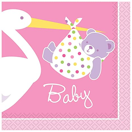 Pink Stork Baby Shower Cocktail Napkins, 16ct