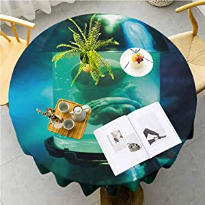 JKTOWN Outer Space Bistro Party Tablecloth Machine Washable, Durable Table Cloths for Wedding Reception Restaurant Banquet Party 59 inch Martian UFO Alien in a Aquarium Like Tube Artwork Image