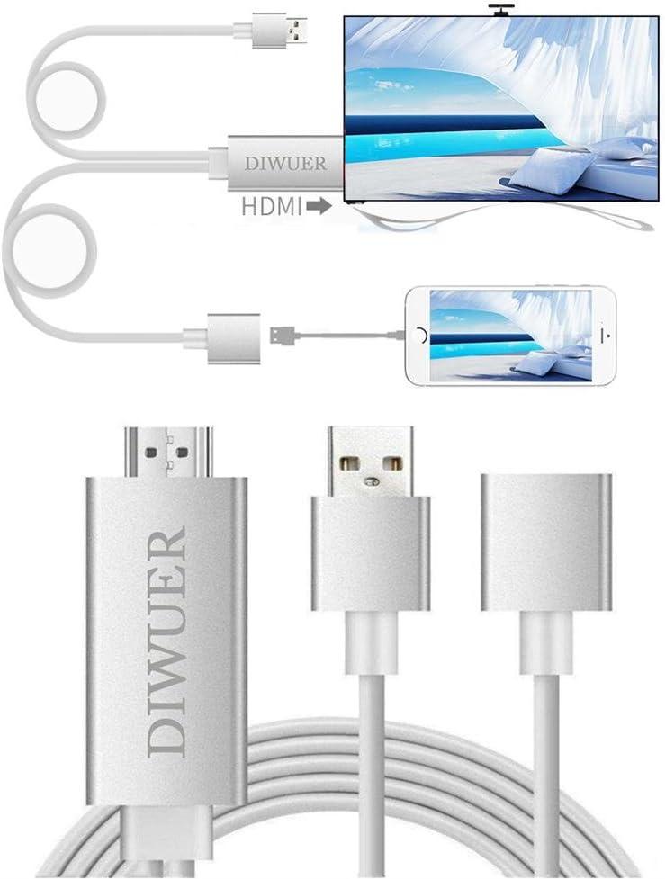 Cable adaptador a HDMI, adaptador digital AV HDMI 1080 px, conversor para iPhone, iPad, y smartphones Samsung, conecta y usa (color plateado): Amazon.es: Electrónica