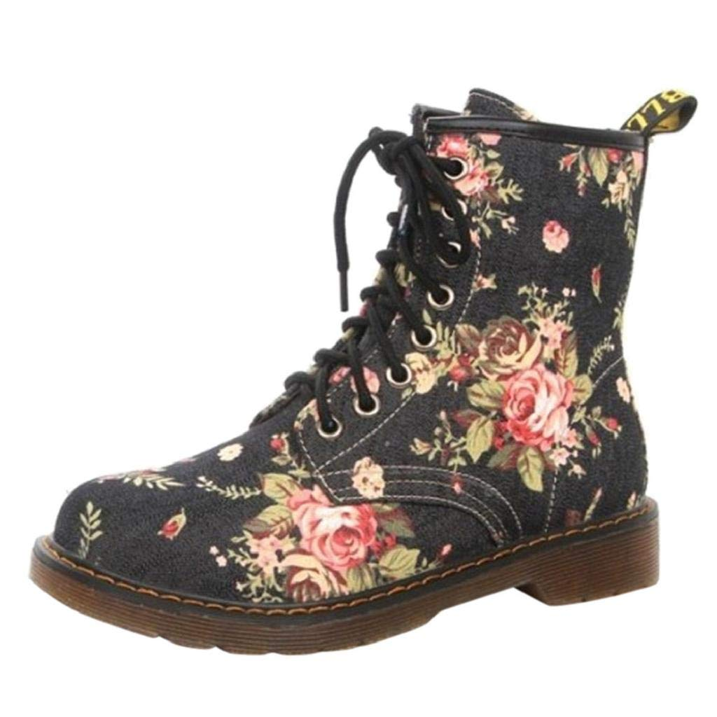 c45e72942ab DEELIN Women Soft Flat Heel Ankle Floral Print Round Toe PU Leather Shoes  Female Lace-Up Boots Ladies Shoes Casual Army Military Combat Boots   Amazon.co.uk  ...