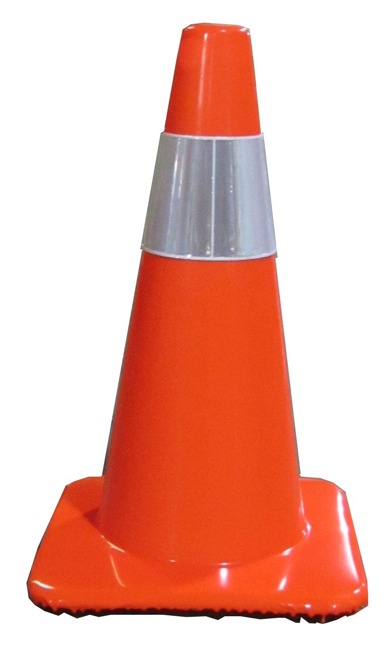 Work Area Protection 18PVCS Polyvinyl Chloride Standard Traffic Cone with 4'' VSB Reflective Collar, 7-1/4'' Diameter x 18'' Height, Fluorescent Orange