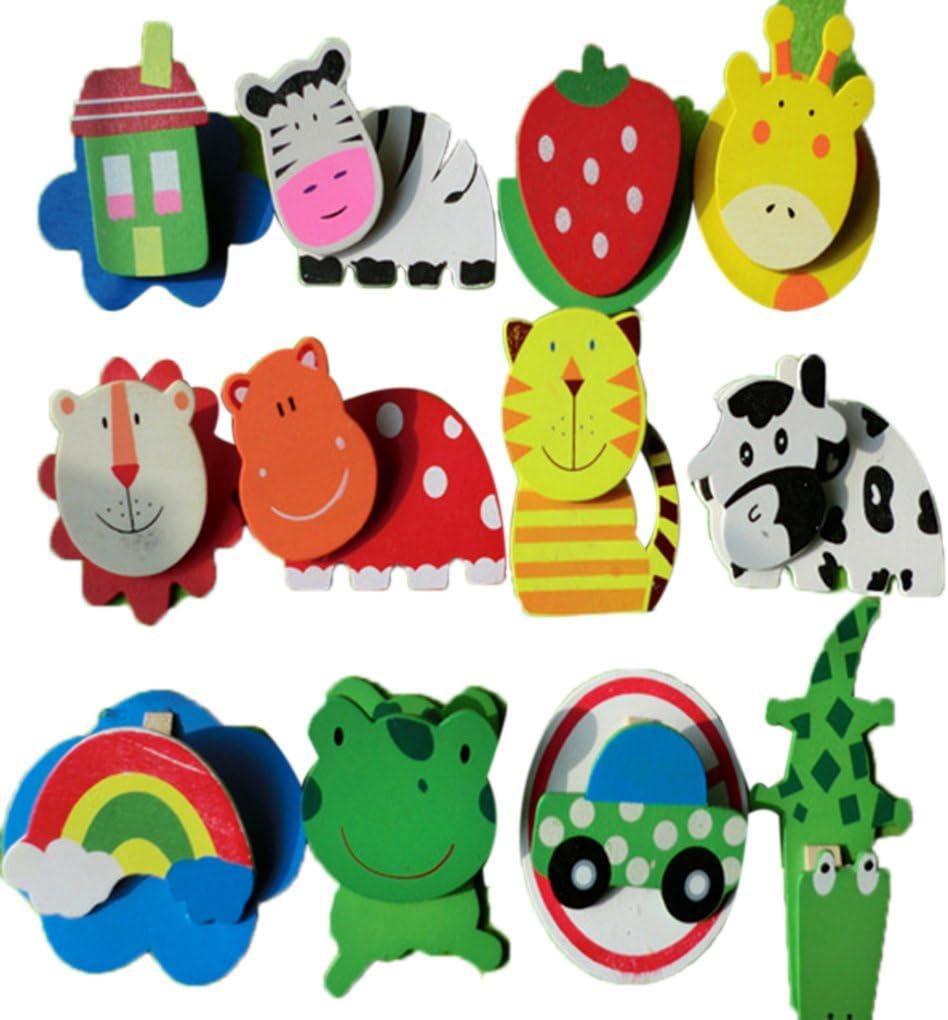 12pcs Bébé Aimant De Réfrigérateur En bois Mignon Cartoon Animal Enfant Jouet éducatif