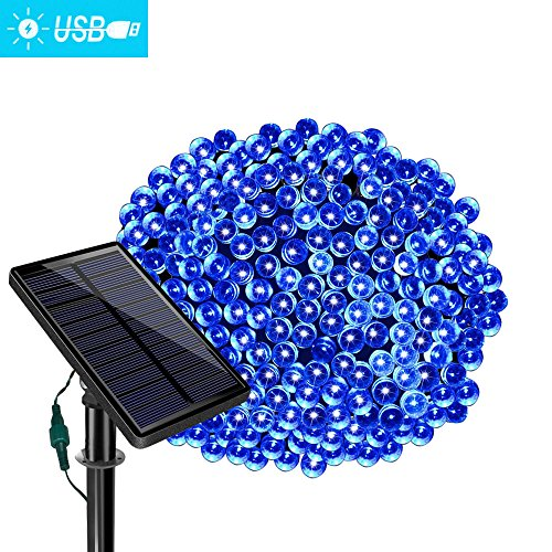 Blue Gazebo (Solar String Lights - Dolucky Blue Outdoor String Lights 77ft 220 LED Fairy Lights,Waterproof Ambiance Lighting for Patio Lawn Garden Home Holiday Christmas Xmas Tree decoration /USB Charge)