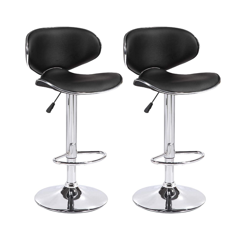 Mecor 2er Set Barhocker Tresenstuhl verstellbar, Barstuhl mit Bakeriger Rückenlehne, Bar Sessel mit Robustem Standfuß höhenverstellung schwarz 120kg