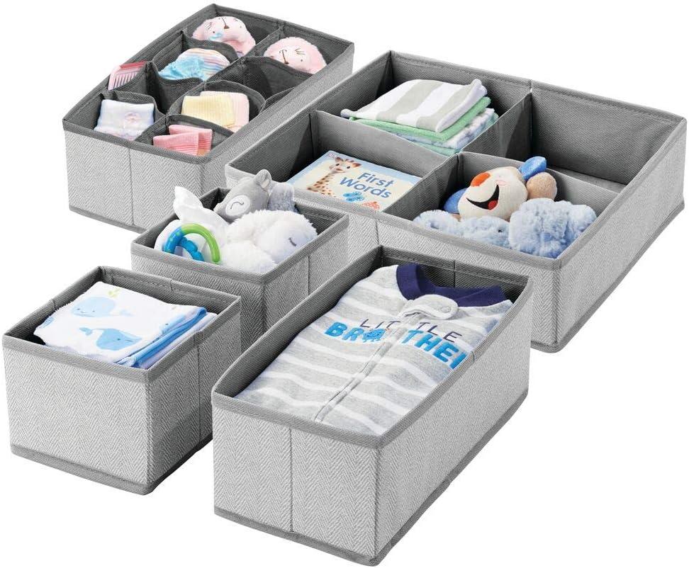 mDesign Juego de 5 cajas de almacenaje con dibujo de espiga para habitación infantil – Cestas de tela para bebé con múltiples compartimentos – Organizadores de cajones y armarios en tela –