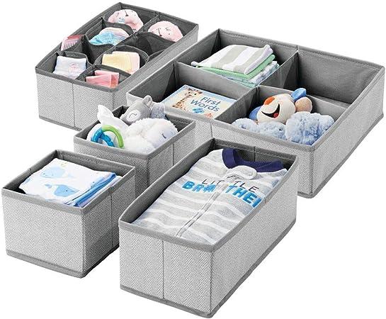 mDesign Juego de 5 cajas de almacenaje con dibujo de espiga para habitación infantil – Cestas de
