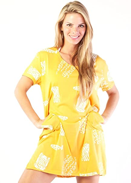 4e1726c5da Image Unavailable. Image not available for. Color: Ingear Maternity Beach  Summer Shift Dress Short Cotton Tee Dress Yellow Cover Up