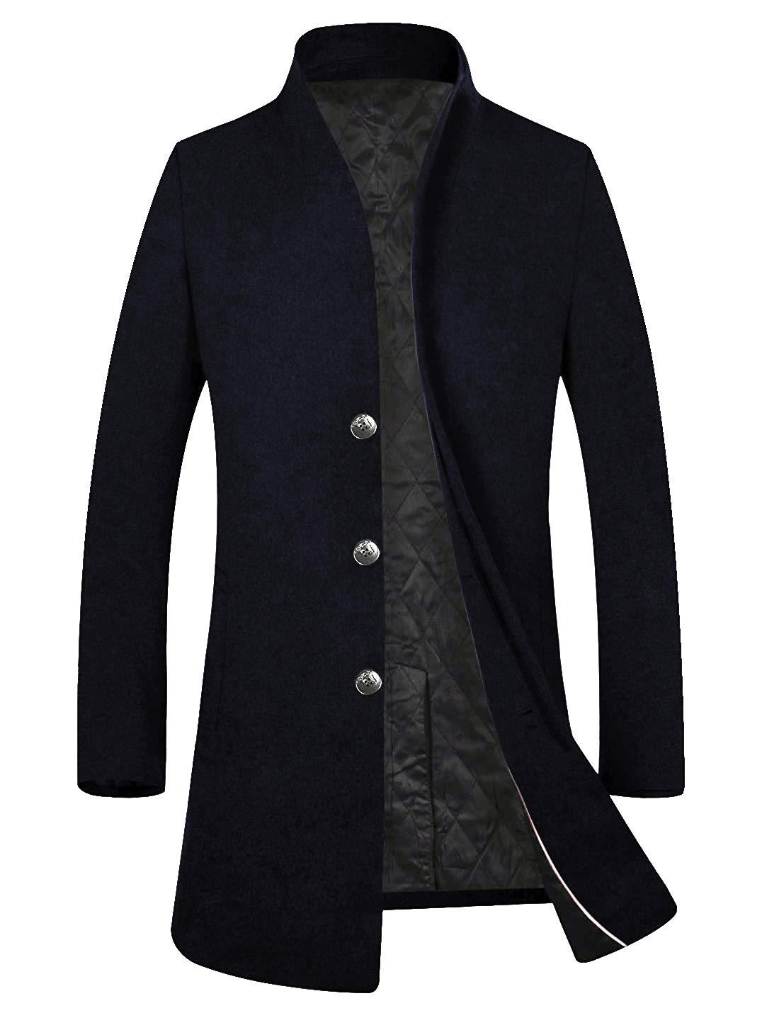 APTRO Men's Fleece Lining Slim Fit Wool Trench Coat 1681 Navy S by APTRO