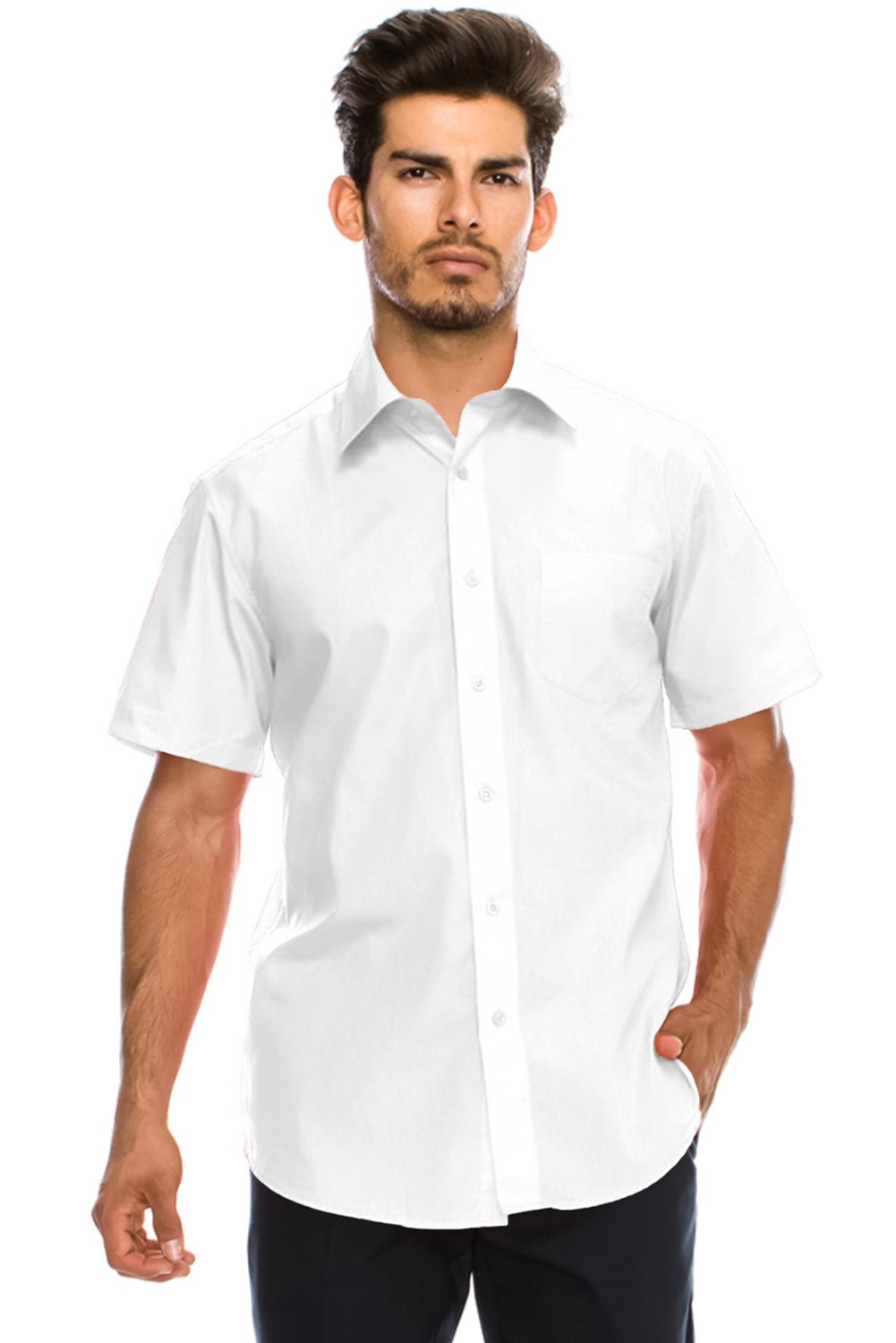 JC DISTRO Men's Regular-Fit Solid Color Short Sleeve Dress Shirt, White Shirts (XL)