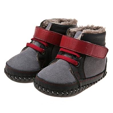 Rouge Gris Souple Blue Fourrées Pas Little Lamb Premiers Chaussures Cuir GarçonMontantes Lq54RAj3