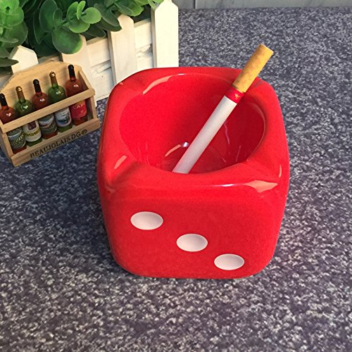 Creative personality dice ceramic ashtray fashion cute European trend ashtray office room decoration,gules