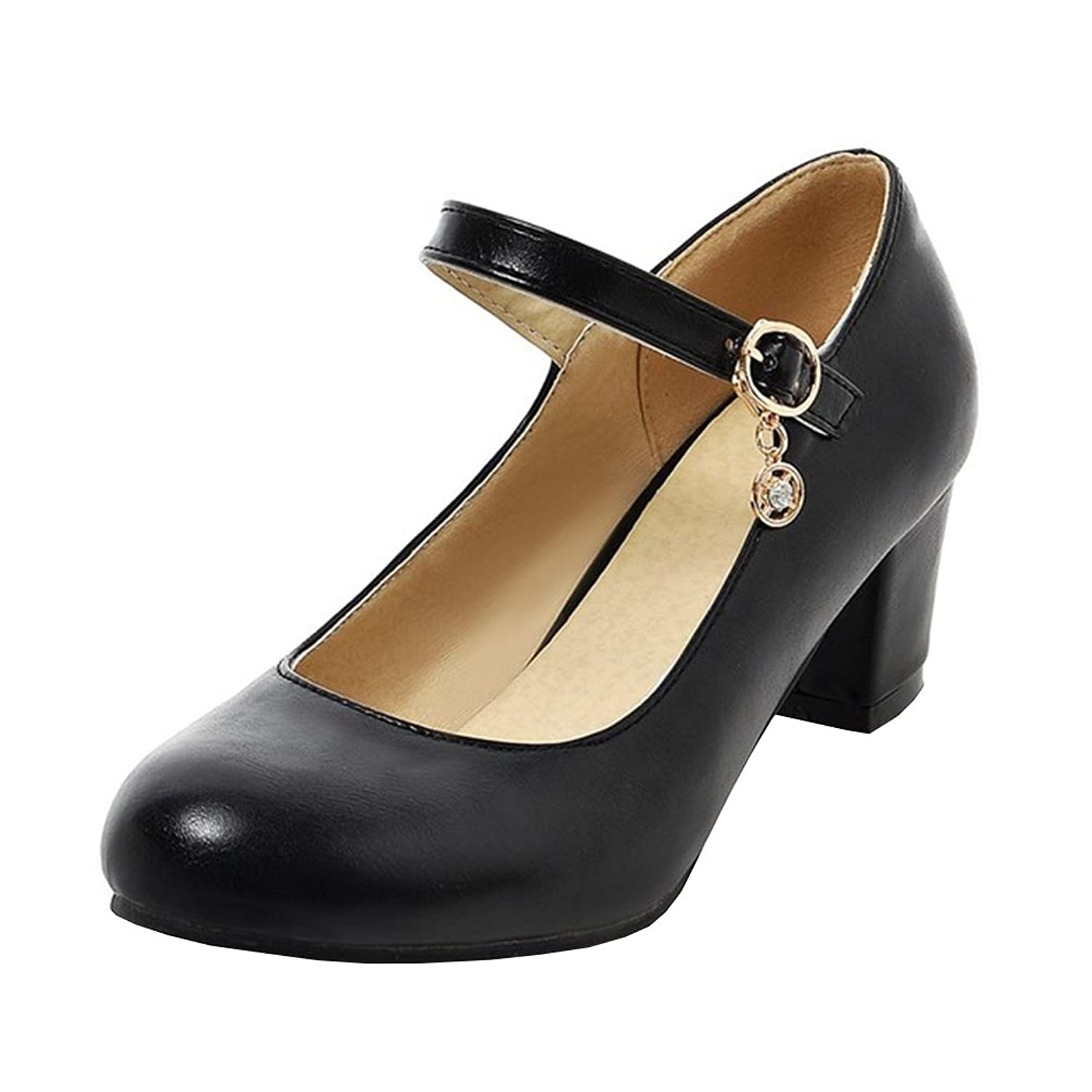 Agodor Womens Mid Chunky Heel Mary Janes Ankle Strap Pumps Closed Toe Cute Dress Party Shoes