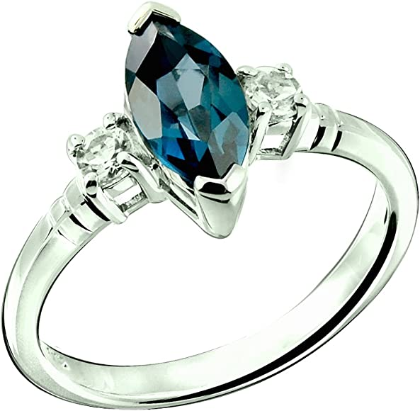 b28a112d3673e RB Gems Sterling Silver 925 Ring London Blue Topaz and White Topaz ...