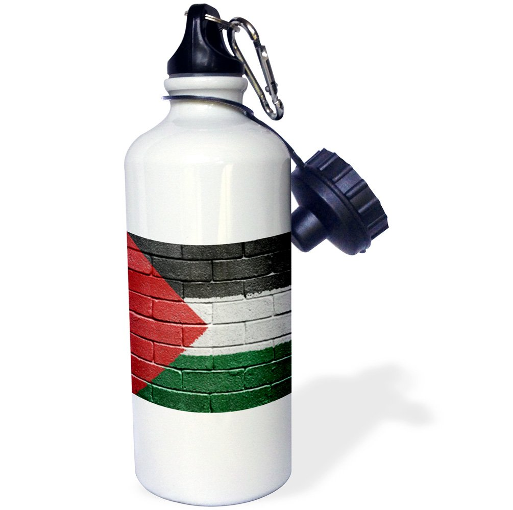 3dRose wb/_156963/_1 National Flag of Palestine Painted Onto a Brick Wall Palestinian Sports Water Bottle 21 oz White