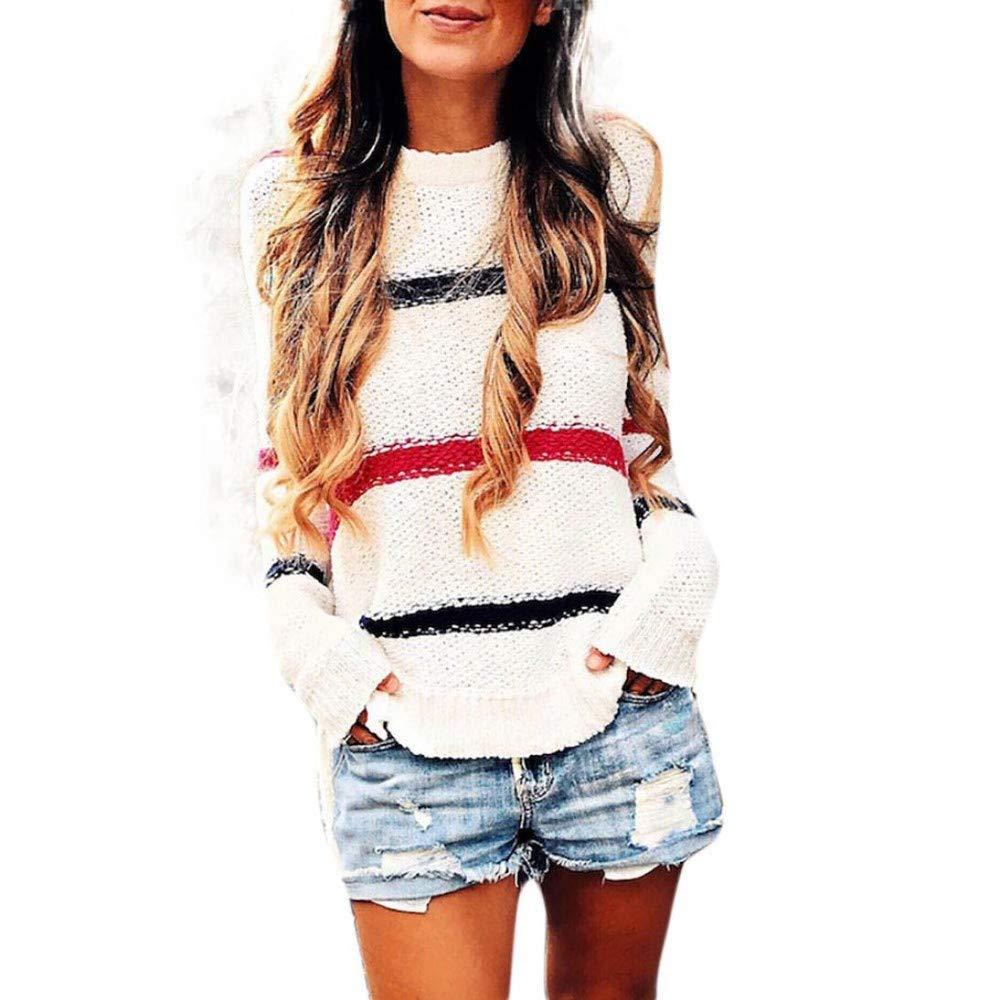 PERFURM Sweater Women Long Sleeve Oversized Fashion Blouse Stripe Knitting T-Shirt Blouse Tops Casual Knitwear